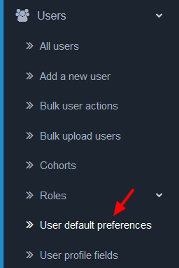 User default preferences