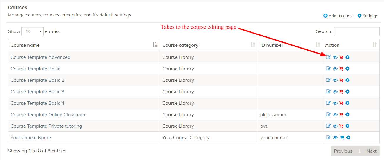 Course editing page