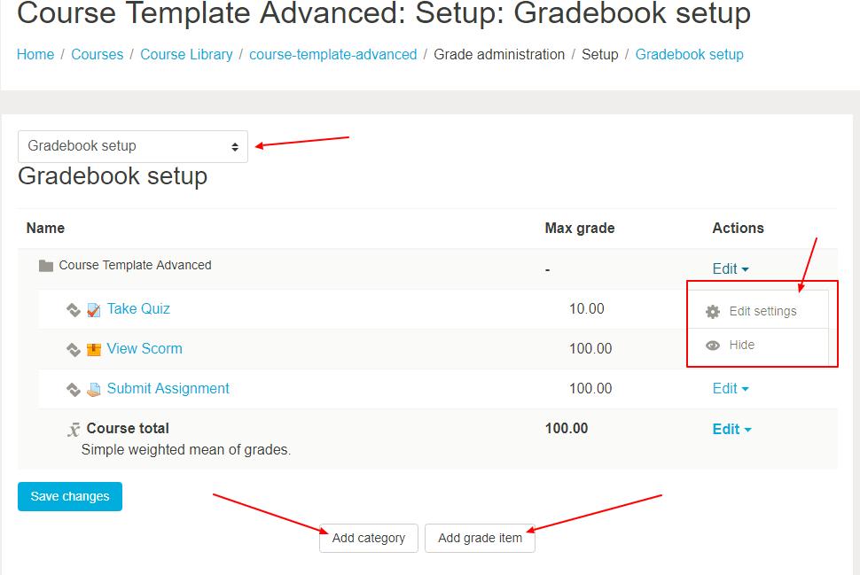 Grades Setup