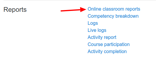 Online classroom reports of course